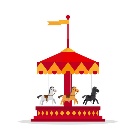 human silhouette: Kids carnival carousel in flat style. Merry-Go-Round vector illustration