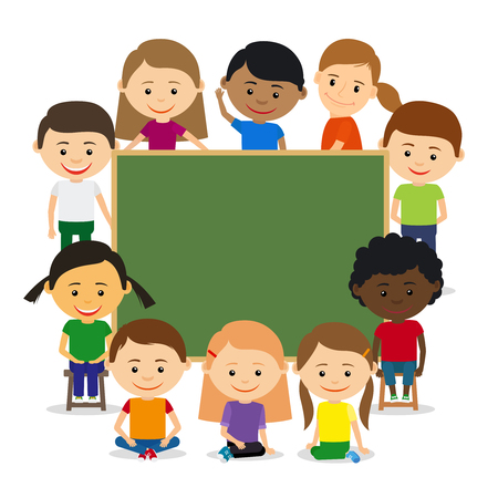 young group: Kids around chalkboard. Kids education and childrens training concept. Vector illustration