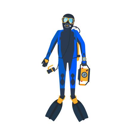 スクーバダイバー フラット スタイルのイラスト。白い背景のダイビングの男性。ベクトル図