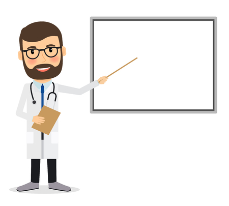 whiteboard: Doctor with whiteboard. Doctor presenting research results, pointing at whiteboard. Vector illustration