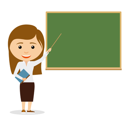 teach: Teacher on lesson. Female teacher at the chalkboard. Vector iluustration
