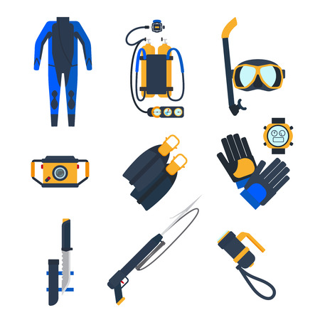diving equipment: Diving equipment icons in flat style. Diving mask and diving suit, snorkel and flippers. Vector illustration.