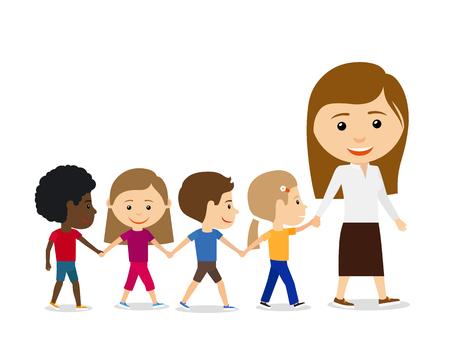 in row: Profesor con los niños en el fondo blanco, caminando y tomados de la mano. Los niños ilustración vectorial de educación