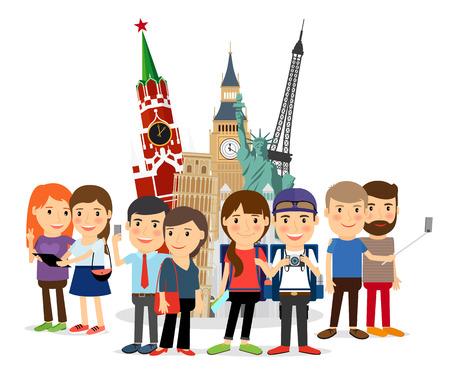 Travel self-portrait. People taking selfie in front of landmarks. Eiffel Tower, Big Ben, Kremlin sightseeing. Vector illustration. Illustration