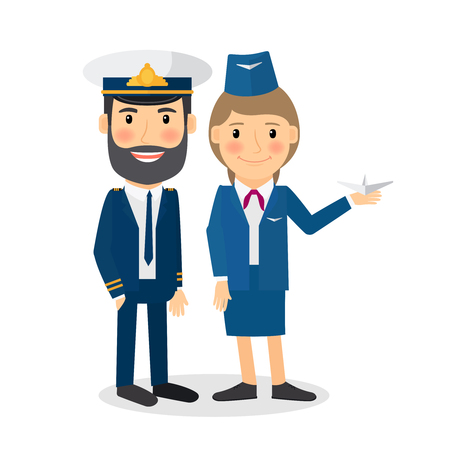 occupation cartoon: Pilot and stewardess vector characters. Airline company employee in uniform.