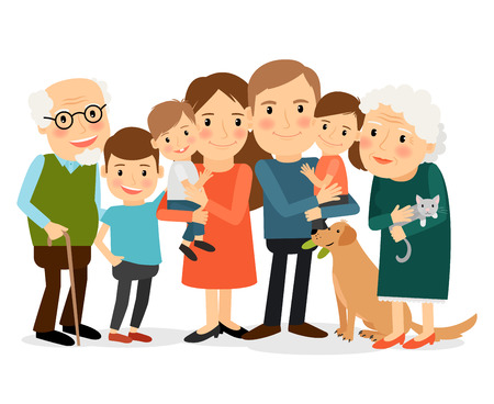 Happy family portrait. Father and mother, son and daughter, grandparents in one picture together. Vector illustration.