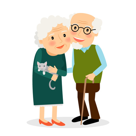 old wife: Old couple. Grandmother and grandfather standing together. Senior family with cat. Vector illustration.