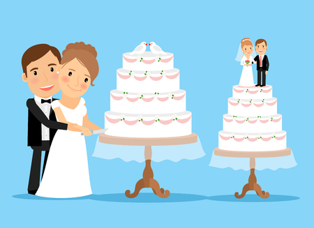 Wedding cake with bride and groom cutting wedding cake together. Wedding ceremony.   Vector illustration for wedding invitation