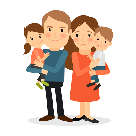 mom and son: Couple with children. Mother and father stanging together holding kids. Vector illustration