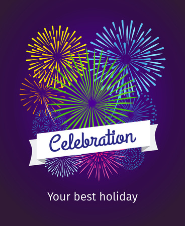 Fireworks background, celebration card or celebration poster template. Colorful salute and text banner. Vector illustration