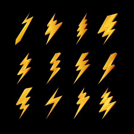 Lightning icons collection. Yellow lightning bolt symbols on black background. Vector illustration