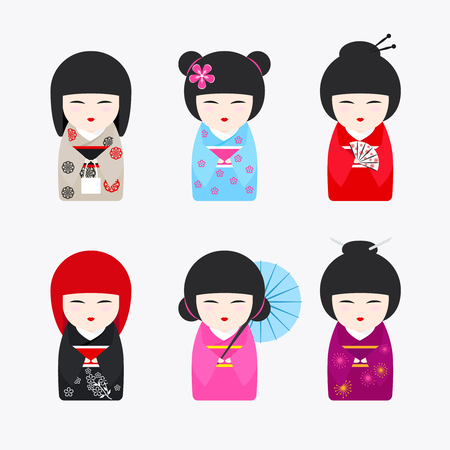 kokeshi: Japanese Kokeshi Dolls icons. Kawaii asian girls wearing kimono on white background. Vector illustration