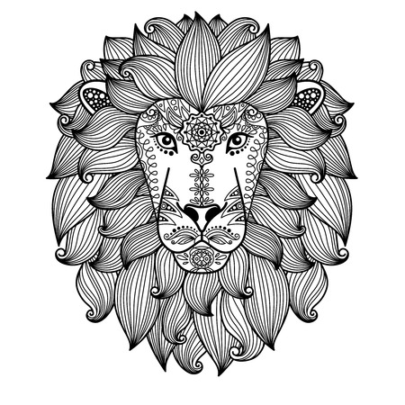 Hand drawn cute vector lion head with ethnic floral pattern. Black line illustration on white background.
