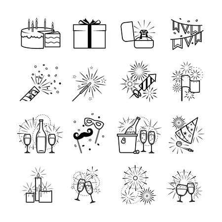 Celebration icons and party icons. Vector black party icons on white background