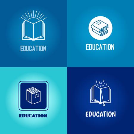 establece la educación vector de la insignia. Iconos del libro blanco sobre fondo azul con la inscripción Ilustración de vector