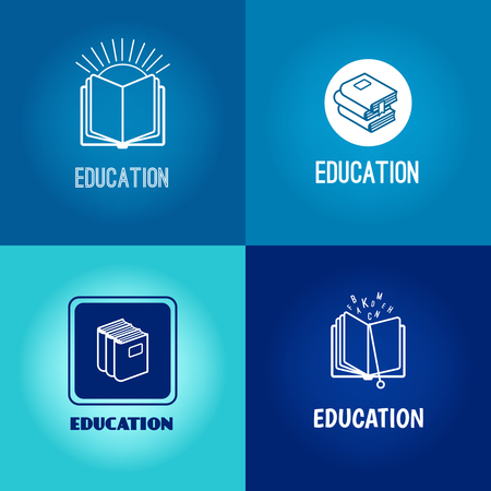 education technology: Vector education logo set. Book white icons on blue background with inscription