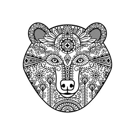black american: Zentangle bear head. Hand drawn doodle bear face, vector illustration Illustration