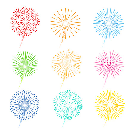 christmas fire: Festive fireworks vector illustration. Celebration fireworks colorful icons on white background Illustration