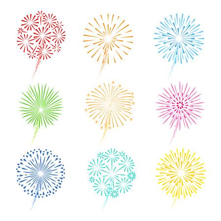 julio: Festivos fuegos artificiales ilustración vectorial. Celebración fuegos iconos de colores sobre fondo blanco