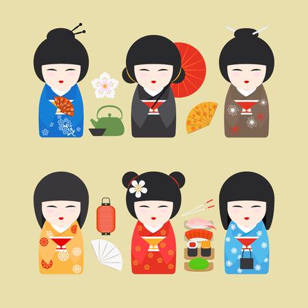 Japanese kimono girl: Nhật Bản búp bê biểu tượng. búp bê Kokeshi với người hâm mộ và những chiếc đèn lồng. vector hình minh họa