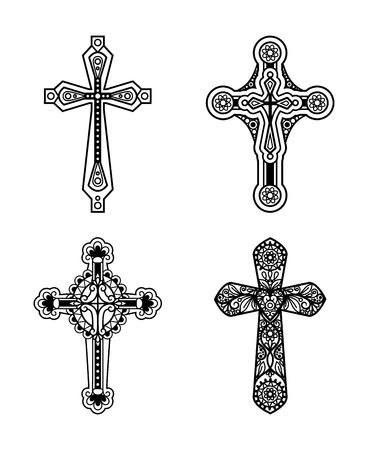 jesus praying: Vector line black ornate christian cross icons set.  Vector illustration
