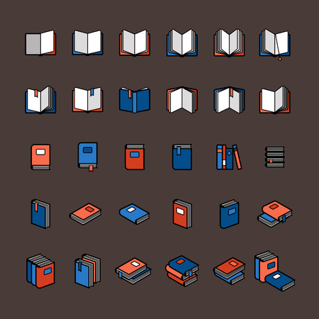 magazine stack: Book color icons in flat style. Blue and orange books on brown background. Vector illustration