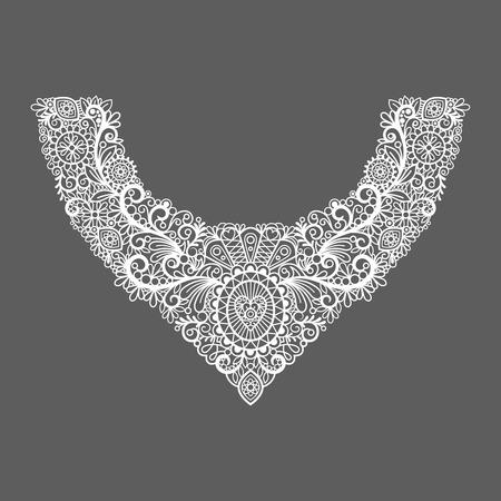 mujer elegante: Cuello de impresi�n vector de dise�o floral. cuello de encaje blanco de la manera. ilustraci�n vectorial
