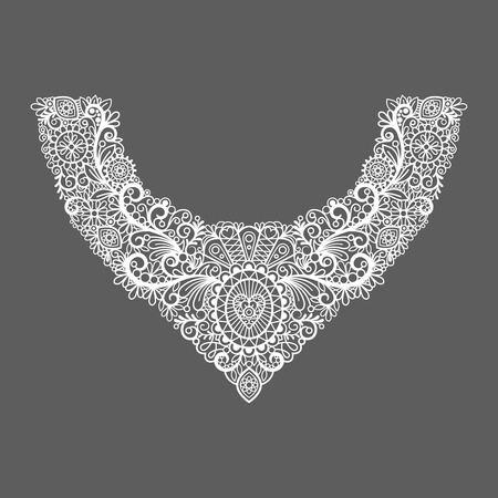 neck collar: Neck print vector floral design. Fashion white lace collar. Vector illustration