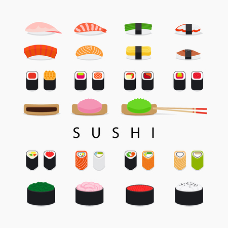 Japanese food sushi set. Colorful sushi and rolls flat icons on white background. Vector illustration