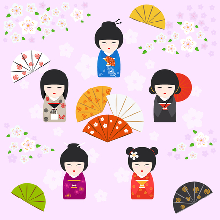 kokeshi: Japanese geisha kokeshi dolls background with Cherry blossoms, fans and umbrella on pink background. Vector illustration