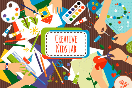 Creative kids lab, top view table with creative kids hands. Cutting paper, painting and sketching. Vector illustration Vectores