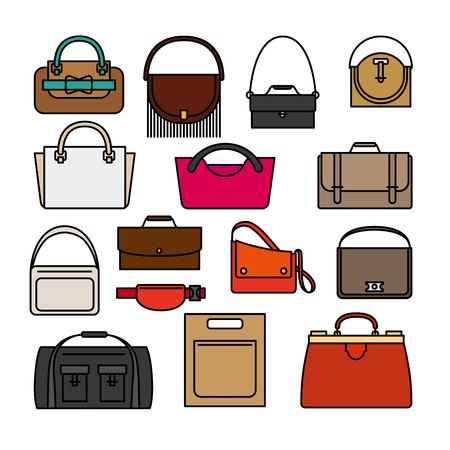 handbags: Bag colored icons on white background. Bags, purse and handbags vector icons Illustration
