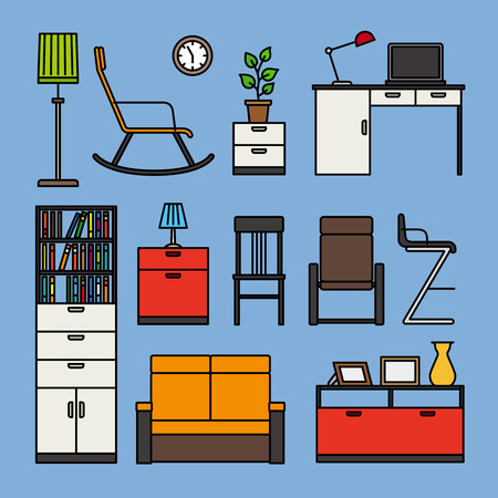 chest wall: Furniture and home accessories icons. Furniture flat outline colored icons on blue background. Vector illustration