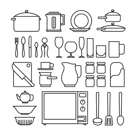 cook griddle: Line kitchen icons. Kitchen utensils for cookingblack thin line images on white background. Vector illustration