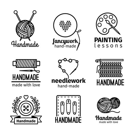 yarn: Handmade black thin line icons on white background. Handmade workshop set for painting cross stitching sewing and knitting. Vector illustration