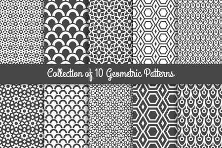 Geometrische Muster. Moderne stilvolle geometrische Textur Schwarz-Weiß-Schwarz-Weiß-Set. Vektor-Illustration