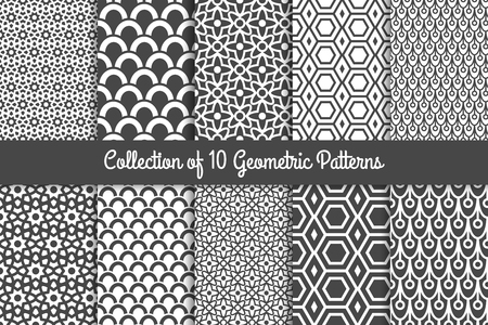 Modèles géométriques. Ensemble monochrome noir et blanc élégant et géométrique élégant. Illustration vectorielle