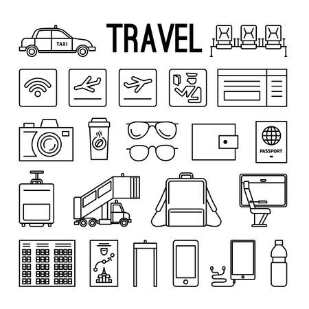 asiento coche: iconos de líneas de Viajes. De viajes y de imágenes de líneas delgadas negras sobre fondo blanco. ilustración vectorial