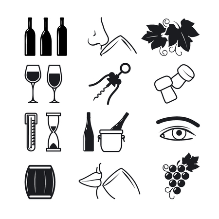 sommelier: Wine black icons on white background set. The process of wine making and sommelier work. Vector illustration Illustration