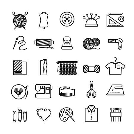 Dziewiarskie, szycie i robótki linii ikony. Knitting przedmiotów, urządzeń i elementów do szycia robótek