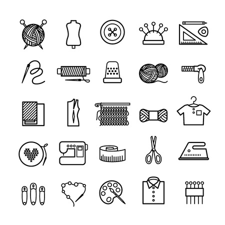 Knitting, sewing and needlework line icons. Knitting items, sewing equipment and needlework elements Çizim