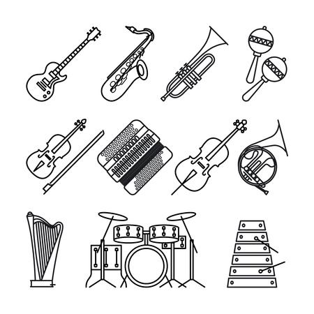 楽器や楽器は薄い白い背景に黒い線アイコンです。ギター、アコーディオン、ヴァイオリン、打楽器とハープのベクトルのアイコン。