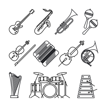 Music instruments or musical instruments thin black line icons on white background. Guitar, accordion, violin and percussion and harp vector icons.