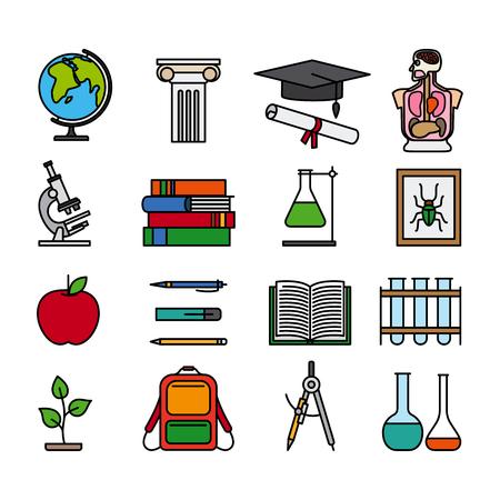 Éducation icônes de ligne de couleur. Décrire les images colorées des livres, des flacons, sac à dos et des matériaux d'étude. Vector illustraton