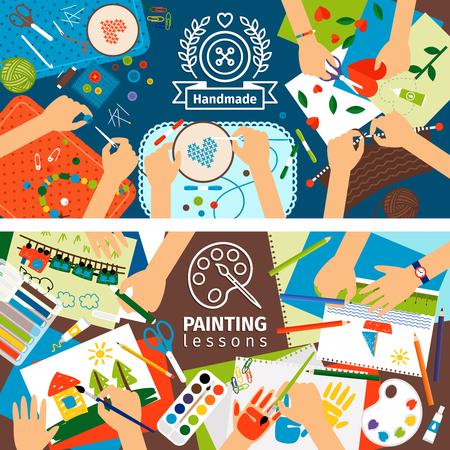 Hechos a mano de los niños creativos banners. banderas proceso creativo con la pintura de niños y niños obra. ilustración vectorial