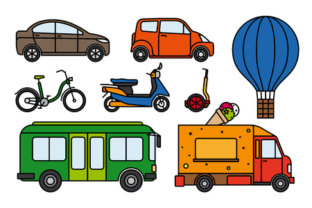 aerostat: City transport set of colorful flat linear icons on white background. Images of cars, bus, scooter, bike and aerostat. Vector illustration