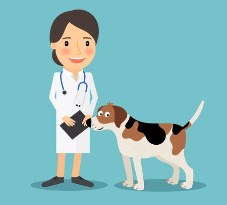 veterinario: Médico Veterinario de sexo femenino con un perro. Veterinaria concepto de icono de colores sobre fondo azul claro. ilustración vectorial