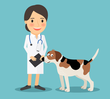 Female Veterinarian Doctor with a dog. Veterinary concept colorful icon on light blue background. Vector illustration Stock Illustratie