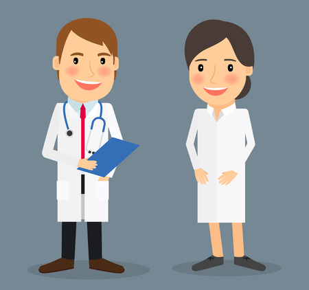 intensive care: Smiling doctor and smiling nurse colorful images on blue background. Vector illustration
