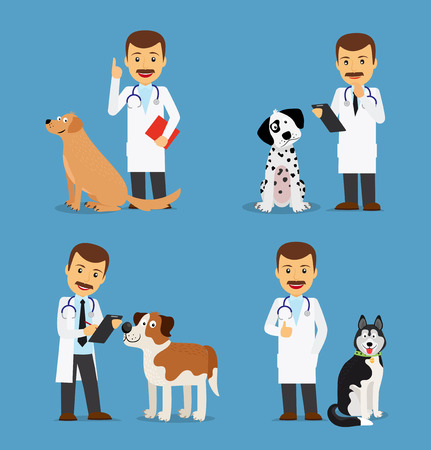 sick people: Professional vet doctor with dogs. Veterinarian colored icons on blue background. Vector illustration